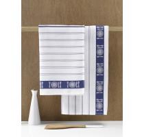 De Witte Lietaer BML keukentextiel - theedoek wit/blauw
