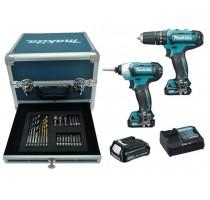Combopack 10,8V HP331D + TD110D + 3x BL1020B + 1 x DC10SA in koffer