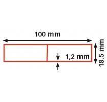 Alu rij 100 x 18,5 x 1,2 mm / 250 cm